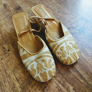 NWT Unisa Gold Cream Tapestry Kitten Heels